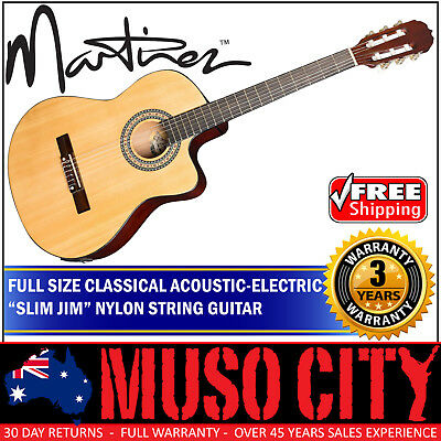 New Martinez Full Size 4/4 Slim Neck Acoustic-Electric Classical Cutaway Guitar