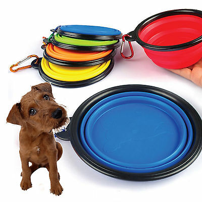 Silicone Travel Portable Collapsible Cat Dog Food Water Feeding Bowl Dish Feeder