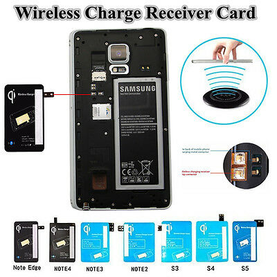 Qi Wireless Charging Charger Receiver Card For Samsung Galaxy Note 4/Edge S5/4/3