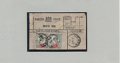 WALES 1904 PARCEL POST LABEL NEATH(NM)  PAIR KE7 2d. STAMPS CAT £32 EACH USED