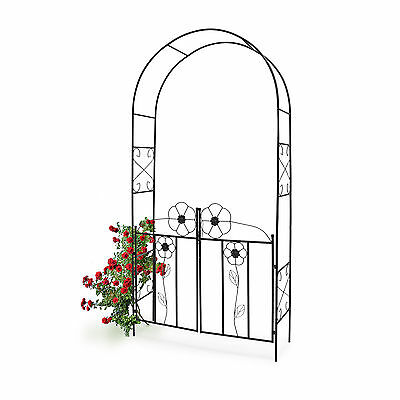 Rose Arch Arbour with Gate Archway Pergola Metal Gateway