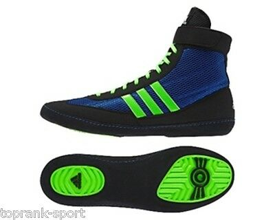 Adidas Adults Men's Combat Speed 4 Green/Blue/Black Wrestling/Boxing Boots
