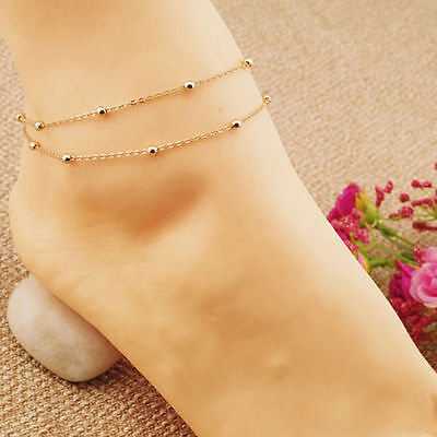 New Gold Double Chain Anklet Ankle Bracelet Barefoot Sandal Beach Foot Jewelry