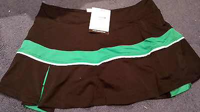 Uni Zep Ladies Tennis Skort, Skirt Black With Some Green , Size Large