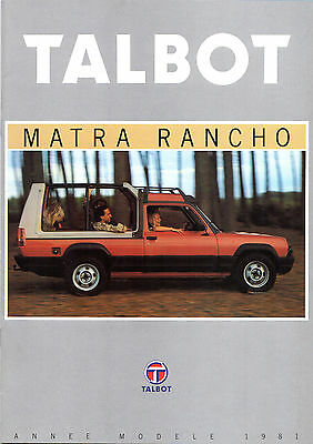 Talbot Matra Rancho 1980-81 French Market Brochure X Grand Raid Decouvrable AS