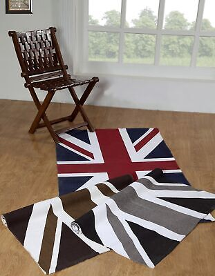 Union Jack Hand Woven Cotton Floor Picnic Area Rug Printed Mat - 2 Sizes