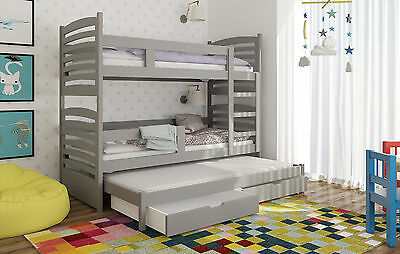 Triple Bunk Bed with Trundle bed FREE MATTRESSES pull out guest bed GIRLS BOYS