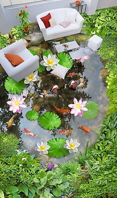 3D Lilypad Lotus Fish Cobble Stone Duck Pond Floor Decals