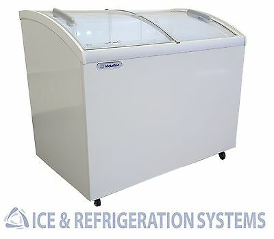 """Metalfrio 41"""" Commercial Curved Top Glass Novelty Ice Cream Freezer Chest ZMSC41"""