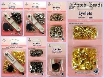 Eyelet Starter Kit 5.5mm Brass Metal Grommet Choose Eyelets Col/Refill/Tool BNIP