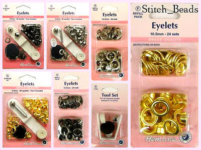 Eyelet Starter Kit 8.7mm Brass Metal Grommet Choose Eyelets Col/Refill/Tool BNIP