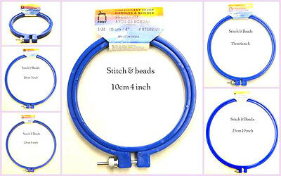 Embroidery Hoop Pony Plastic Blue Adjustable Screw Top Various Sizes To Choose