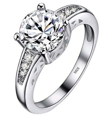 2 ct Solitaire Diamond Sterling Silver Engagement Ring + FREE SHIPPING PJ153