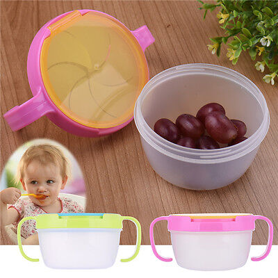 Baby Feeding Bowl Snack Catcher Cup Safe Container Traveling Double Handle Bowl
