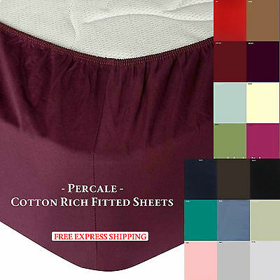 Percale Full Fitted Bed Sheet Rich Cotton Poly Single Double & King Size Sheets