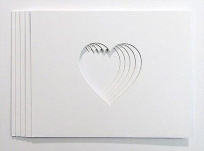 Packs of A5 Ivory Heart shaped Photo and Picture Mounts