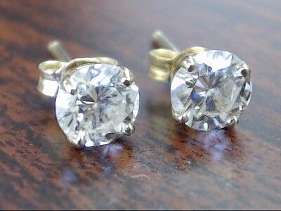 Vintage Natural Diamond Round Solitaire Stud Earrings Real 14K Gold (Gp2004233)