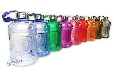 BPA Free Water Bottle Half Gallon Drink Canteen Jug Container Steel Cap 64 oz