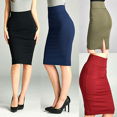 Stretch-Knit Pencil Skirt High Waisted Below Knee Midi Fitted Bodycon Office