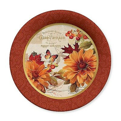 C.R. Gibson Fall Flowers Holiday Dinner Paper Plates, Pack of 2 (TW10-15575)