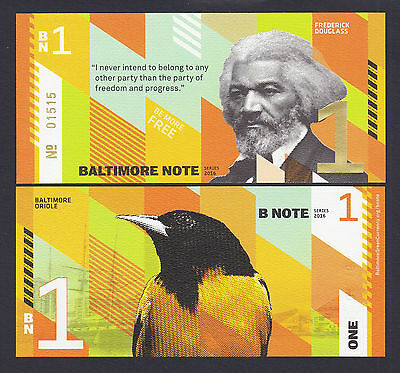 USA 2016 Local Currency BALTIMORE NOTE One ($1) Frederick Douglass UNC