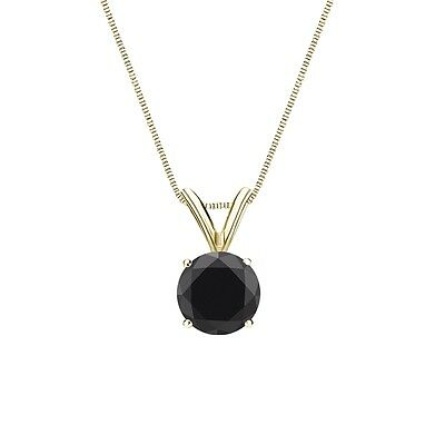 """1.50 Ct Round Cut Black Solid 14k Yellow Gold Solitaire Pendant 18"""" Necklace"""