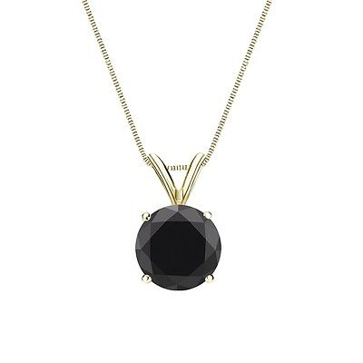 """2.75 Ct Round Cut Black Solid 14k Yellow Gold Solitaire Pendant 18"""" Necklace"""