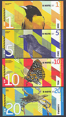 USA 2016 Local Currency SET 4 Pcs BALTIMORE NOTE 1, 5, 10 & 20 UNC