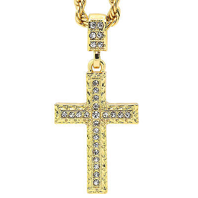 """Hip Hop 14k Gold Plated  Zagged Pattern Cross Pendant 24"""" 4mm TCH Rope Chain"""