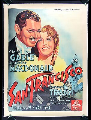 SAN FRANCISCO * CineMasterpieces CLARK GABLE FRENCH FRANCE MOVIE POSTER 1936