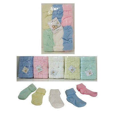 Baby 0-9 mo Solid Socks 12 PAIR Girls Boys - Blue Pink Green Yellow White NWT