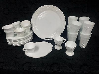 Full Set for 8 Indiana Colony Harvest Milk Glass Grapes Leaf Lunch Plates Cups