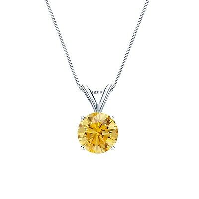 """2.25 Ct Round Canary Yellow Solid 14k White Gold Solitaire Pendant 18"""" Necklace"""