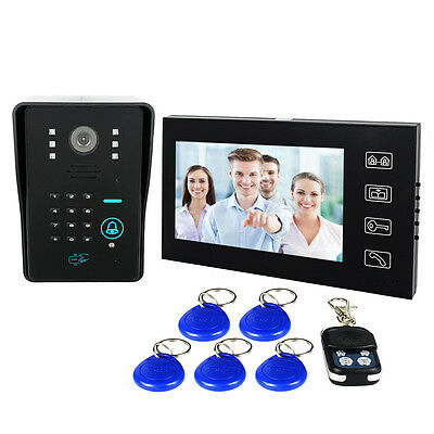 "7"" LCD RFID Card Video Doorbell Phone Intercom keypad Door Access Remote Control"