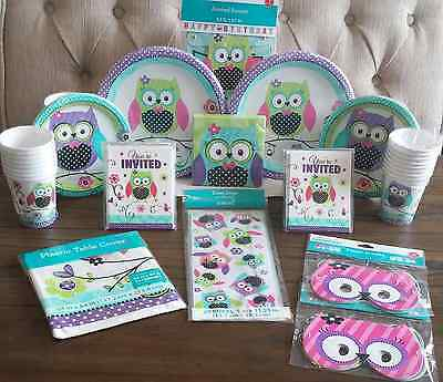 Pretty OWL Girl Birthday Premium Kit Serves 16 Party Supplies Cups Plates Favors
