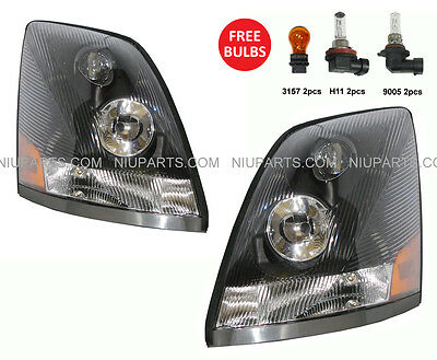 Headlight Lamp Black - Driver & Passenger Side (Fit: Volvo VNL VN VNM )