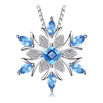 Christmas Snowflake Natural Swiss Blue Topaz 925 Sterling Silver Pendant