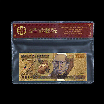 Mexico Gold Banknote 1000 Pesos 24k Gold Plated Note Uncirculated In PVC Frame