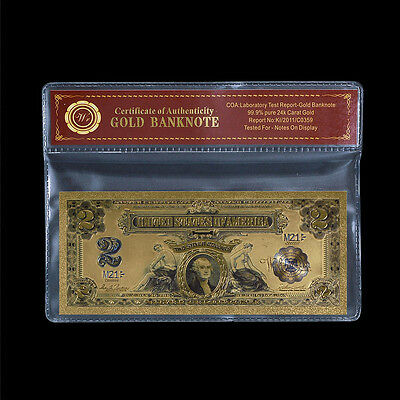 1899 Series $2 Two Dollar Silver Certificate US Gold Banknote Fine 24k Gold Note