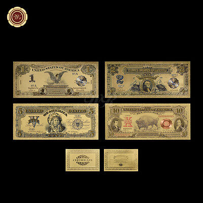 US Gold Banknote Set Of 1989 $1, $2, $5 Silver Certificate & 1901 $10 Bison Note