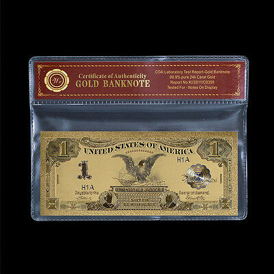 1899 Black Eagle $1 Silver Certificate US Bill Colored 24k Gold Banknote +Sleeve