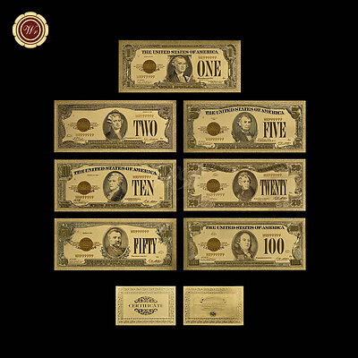 US 1928 Series Gold Certificate Banknote Set of 7pcs $1 - $100 24k Gold Notes