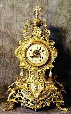Very Large Gorgeous Empire French Antique Japy Freres Gilt Bronze Clock H: 22""