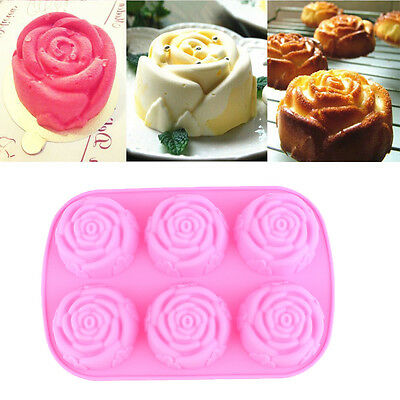 6 Rose Silicone Cake Pan Pastry Baking Mold Cookie Muffin Bakeware Mould DIY New