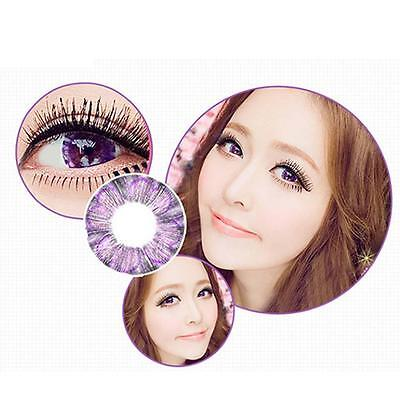 1 Pair Contact Lenses Color Soft Big Eye UV Protection Cosmetic Purple Clover EH