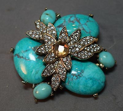 MAGESTIC Signed Ciner Turquoise Veined Cabochon Stones & Rhinestone Brooch! WOW~
