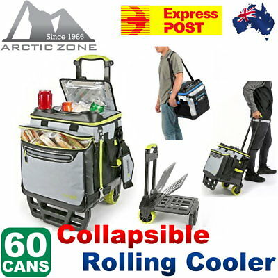 Arctic Zone Ultra Collapsible Rolling Wheel Cooler 58 Cans 2 Drink Holders