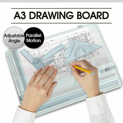 Portable Drafting A3 Drawing Board & Kit Drawing Head, Tilters & Set Square