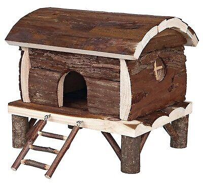 2 Storey Hamster House Wooden Hut on Stilts with Ladder Mice Gerbils Hamsters