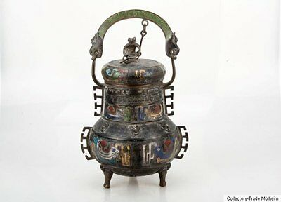 China 19. Jh. A Chinese Cloisonne & Bronze Jar of Pien Hu Form - Cinese Chinois